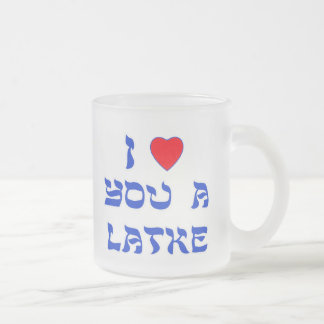 I Love You a Latke Frosted Glass Coffee Mug