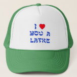 """I Love You a Latke Trucker Hat<br><div class=""""desc"""">Great Chanukah gift to tell somebody how much you love them with a play on words with Latke!</div>"""