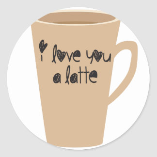 I love you a latte classic round sticker