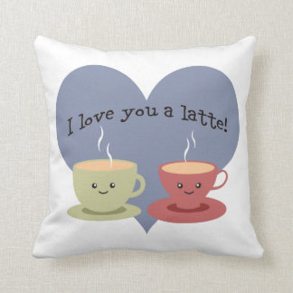 I love you a latte! throw pillow