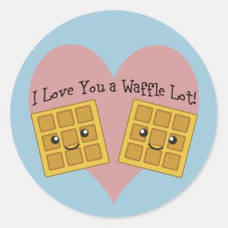 I Love You a Waffle Lot! Classic Round Sticker