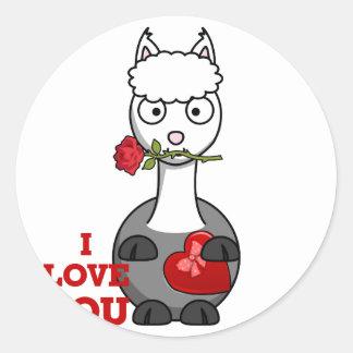 i love you alpaca classic round sticker