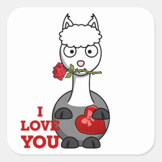 i love you alpaca square sticker