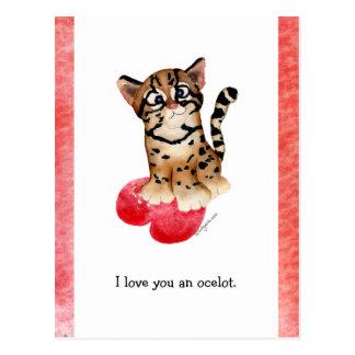 I Love You An Ocelot Postcard
