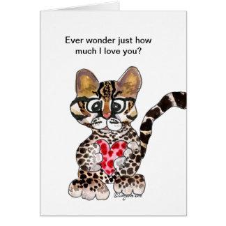 I Love You An Ocelot Valentine Card