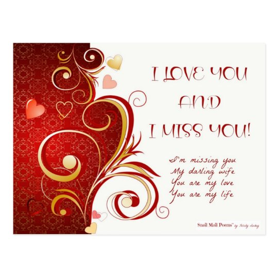 I Love You and I Miss You Poem for Wife Postcard | Zazzle