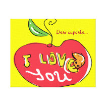 I love you apple with worm canvas