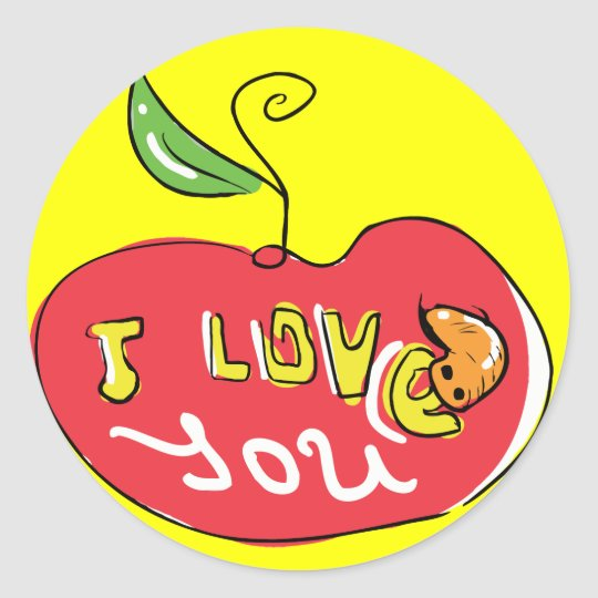 I love you apple with worm sticker