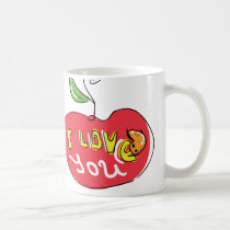 I love you apple with worm tea mug