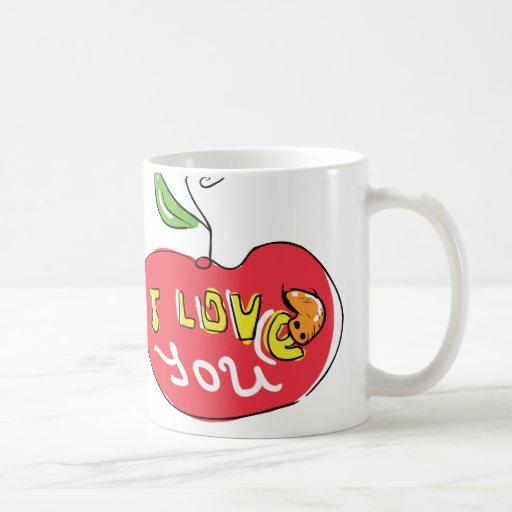 I love you apple with worm tea mug