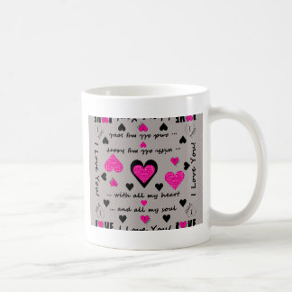 I Love You Artsy Hearts Coffee Mug