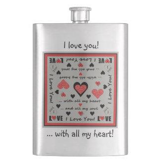 I Love You Artsy Hearts Flask