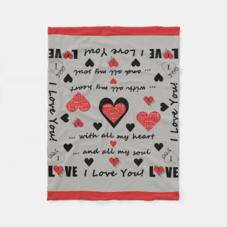 I Love You Artsy Hearts Fleece Blanket