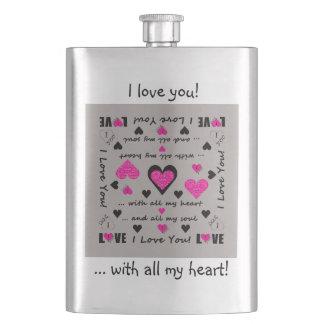 I Love You Artsy Hearts Hip Flask