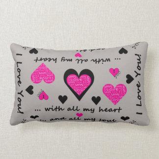 I Love You Artsy Hearts Lumbar Pillow