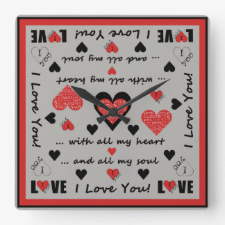 I Love You Artsy Hearts Square Wall Clock