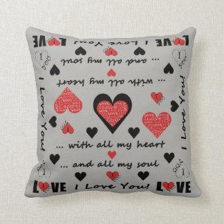I Love You Artsy Hearts Throw Pillow