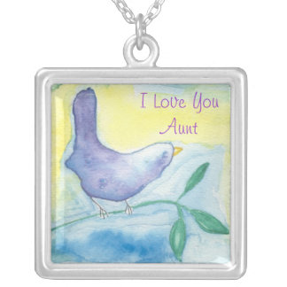 I Love You Aunt Blue Bird Necklace