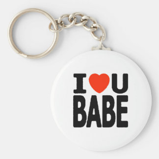 I LOVE You Babe red heart dating relationships Keychain