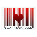I LOVE YOU BARCODE 3.5X5 PAPER INVITATION CARD