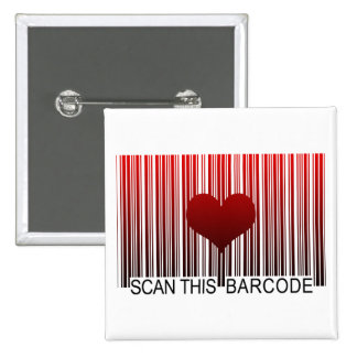 I LOVE YOU BARCODE PINBACK BUTTON