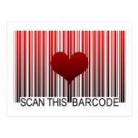 I LOVE YOU BARCODE POSTCARD