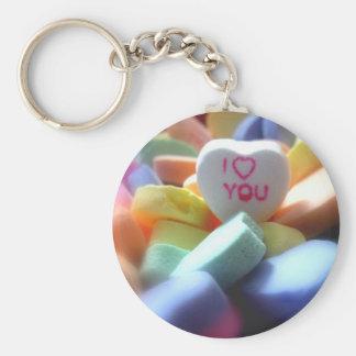 I Love You Basic Round Button Keychain