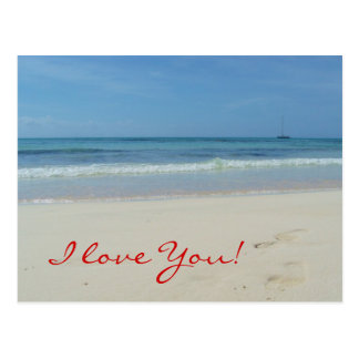 I love You - Beach Postcard