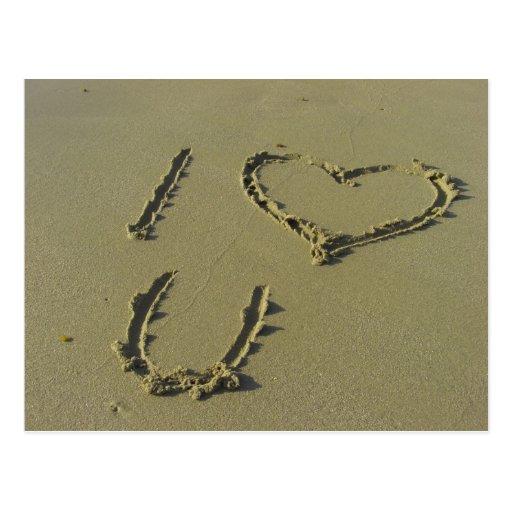 I love you - beach sand writing postcard