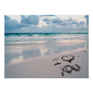 I Love You Beach Sunset Poster