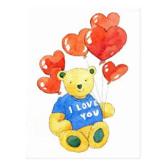 I love you bear - balloon 2011 postcard