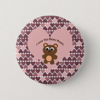 I love you Beary Much! Heart Background Button
