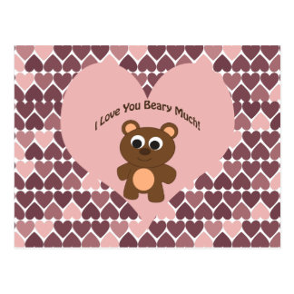I love you Beary Much! Heart Background Postcard
