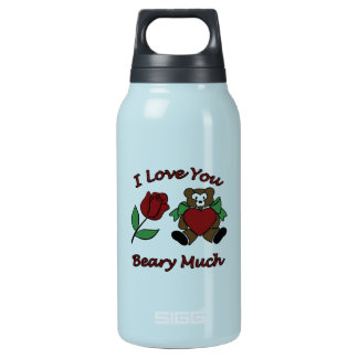 I Love You Beary Much Teddy With Heart Rose Insulated Water Bottle