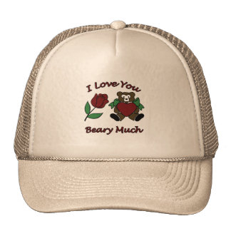 I Love You Beary Much Teddy With Heart Rose Trucker Hat