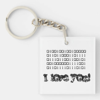 I Love You Binary Acrylic Keychain