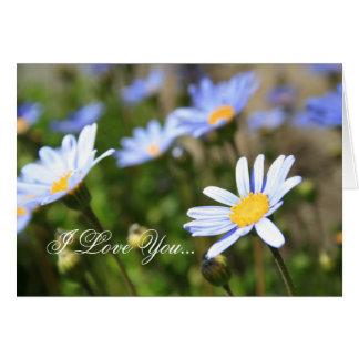 I Love You blue daisy greeting card