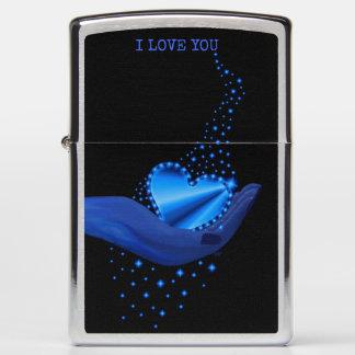 I love You , Blue Rainbow Heart with Stars Zippo Lighter