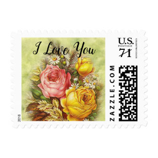 I Love You Bouquet for You Victorian Valentine Postage