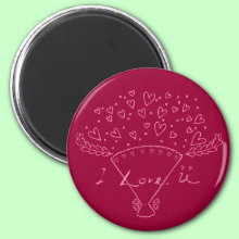 I Love You Bouquet Magnet - Show your love with this romantic, passionate pink love bouquet design!