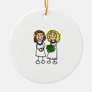 I Love You Brides Double-Sided Ceramic Round Christmas Ornament