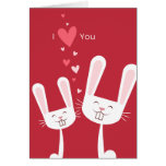 I Love You Bunny Rabbits (red) Valentine Greeting Card