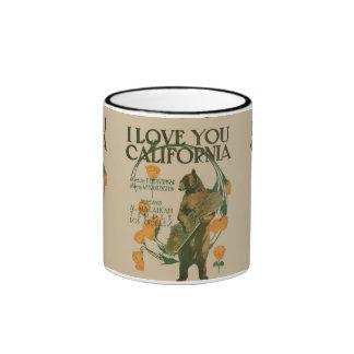 I love you California Bear 11 oz Ringer Ringer Coffee Mug