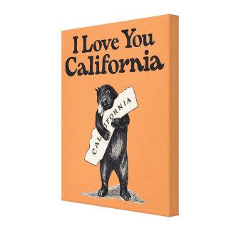 I Love You California Bear Hug Canvas Print