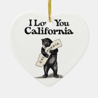 I Love You California Bear Hug Ceramic Ornament