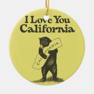 I Love You California Ceramic Ornament
