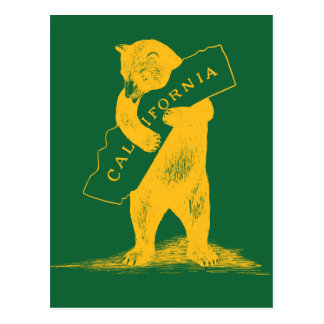 I Love You California--Green and Gold Postcard