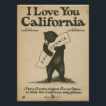 """I Love You California Poster<br><div class=""""desc"""">High-quality scan of original vintage sheet music,  official California state song. A bear hug for your favorite state!</div>"""