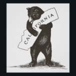 """I Love You California Poster<br><div class=""""desc"""">A bear hug for your favorite state! High-quality scan of original vintage sheet music,  the official California state song.</div>"""