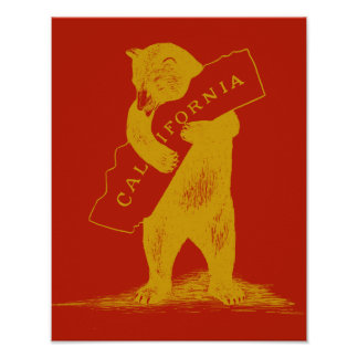 I Love You California--Red and Gold Poster